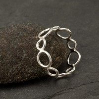 "Handmade Sterling Silver Ring -Silver Circles Ring- Circle Ring Band- Modern Silver Jewelry ""Circle Cluster Ring""  6, 6.5, 7, 7.5"