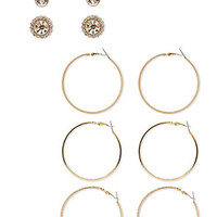 FOREVER 21 Faux Stone & Hoop Set Gold/Clear One