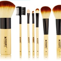 SHANY Bamboo Brush Set with Premium Synthetic Hair, Bamboo Handles and Cotton Pouch:Amazon:Beauty