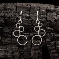 "Sterling Silver Earrings- Circles Earrings- Silver Dangle Earrings- Handmade Modern Silver Jewelry- ""Cascading Circles"""