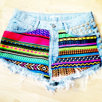 Vintage Studded &amp; Hand Printed Denim Shorts