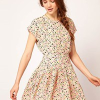 Dahlia Floral Forties Tea Dress at asos.com