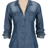 dark wash drape button down denim shirt