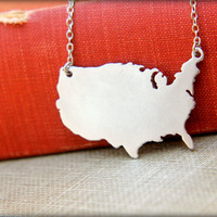 United States Map Necklace, Available in Silver or Gold - American USA Silhouette Land Map