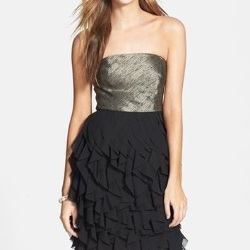 Junior Women's a. drea 'Corkscrew' Strapless Ruffle Dress