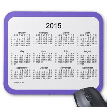 52 Weeks 2015 Calendar by Janz Slate Blue Mousepad