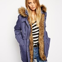 ASOS Parka In Cocoon Fit With Knitted Cuff