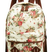Carrot Aj-31331 Flower Printed Canvas Backpack