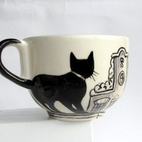 Amsterdam cats -  Big Handpainted Mug- made to order