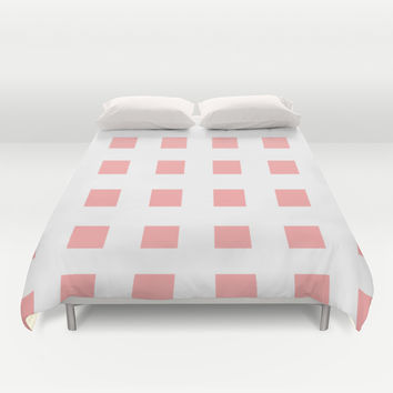 Coral Pink Cross Squares Duvet Cover by BeautifulHomes | Society6
