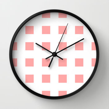 Coral Pink Cross Squares Wall Clock by BeautifulHomes | Society6