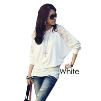 Modern Women's Batwing Top Lace Loose Long Sleeve T-shirt Blouse for Women White Size L:Amazon:Everything Else