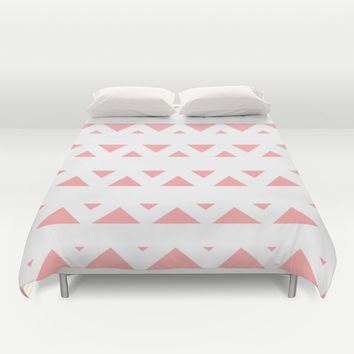 Coral Pink Tribal Triangles Duvet Cover by BeautifulHomes | Society6