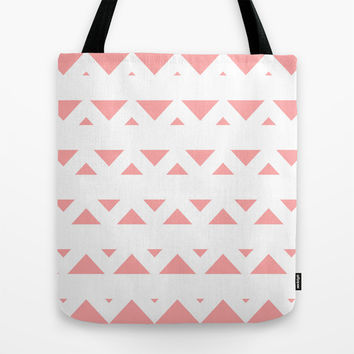 Coral Pink Tribal Triangles Tote Bag by BeautifulHomes | Society6