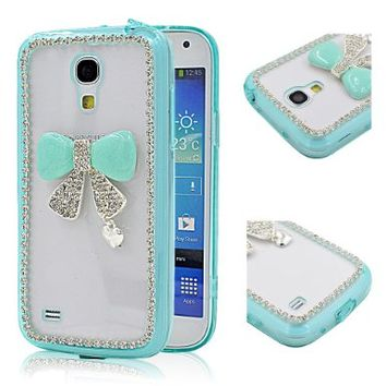 Superfect Silicon Transparent Plastic Hard Case TPU+PC Case for Samsung Galaxy S4 mini (NOT FOR S4) 9190 9192 9195 SIV mini i9190 GT-i9190 T-Mobile AT&T (NOT FOR S4) Bling Glitter 3D Light Green Bow Tie Heart Pattern Rhinestone Diamond Crystal Strass Shine