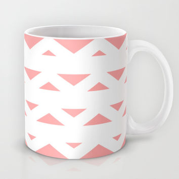 Coral Pink Tribal Triangles Mug by BeautifulHomes | Society6