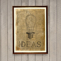 Ideas poster Vintage decor Dictionary page Light bulb print
