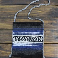Aztec Boho Bag Cross Body Bag Upcycled Mexican Blanket Bag Tan and Brown Tribal Bag or Back pack Bohemian Travel Hang Bag from My fashion creations