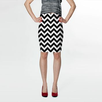 Classic Black And White Chevron by Ornaart (Fitted Skirt)