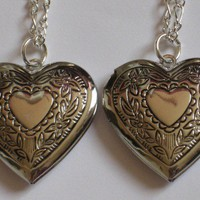 Heart Shaped Friendship or Sister Lockets Set of 2 | StarlightSarah - Jewelry on ArtFire