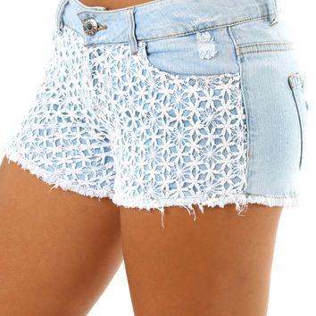 Falling In Love Shorts: Light Denim/White
