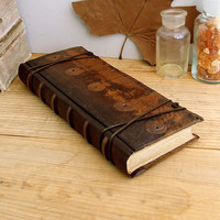 Lost in Time Vintage Leather Journal / Blank Book by TeoStudio