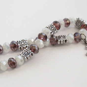 Plum, White, and Silver Beaded Stretch Bracelet with Cross Charm - Christian Jewelry - Purple Bracelet - Ready to Ship