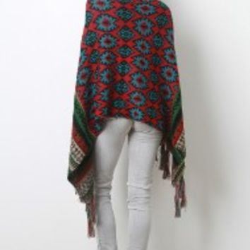 Tribal Knit Button Poncho