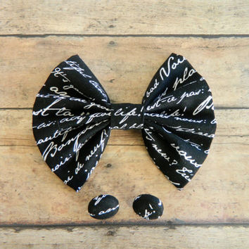 Hairbow and Button Earrings Set, Large Black and White Hairbow, Hairbow for a bun