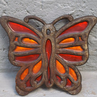 Butterfly Cast Iron Trivet Orange and Red