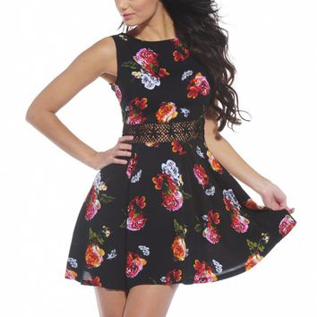 Black Sleeveless Floral Dress with Crochet Waist Trim