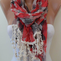 Red and Grey Scarf - with Beige Trim Edge - New Collection