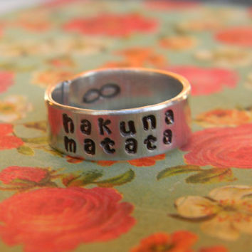 Hakuna Matata //The original   wrapped ring  infinity symbol inside
