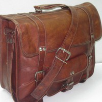 Leather Briefcase Leather Messenger bag Mens Women Unisex Brown Leather Satchel leather handbag laptop bag Leather bag