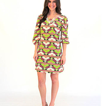 Twist of Lime Pattern Dress - Lotus Boutique