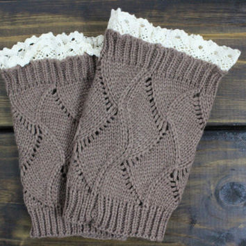 Mocha Knitted Boot Cuffs, Lacey Boot Toppers, Knitted Boot Socks, Warm Boot Topper, Lace trim Boot Cuffs, Knit Boot Cuffs, Lace Boot Toppers