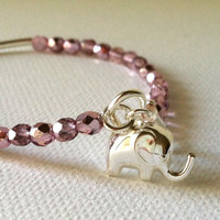 Elephant Good Luck Charm Bracelet -Lilac and Sterling Silver