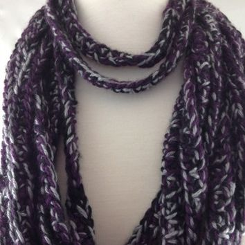 Infinity Scarf Purple Gray Black Multi-Loop Fashionable Extra Soft