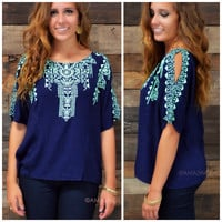 Rule The Day Navy Shoulder Cut Out Top