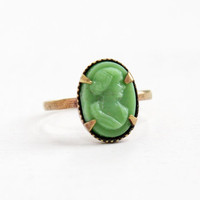 Vintage Green Cameo Brass Czech Ring- 1930s Lucite Cameo Made in Czechoslovakia Size 5 1/2 Costume Jewelry
