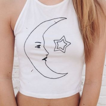 SACHI MOON MEETS STAR EMBROIDERY HALTER
