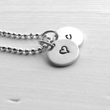 Initial Necklace, Sterling Silver Jewelry, Heart Necklace, Hand Stamped Jewelry, Letter c Necklace, Charm Necklace, Small Initial, Heart