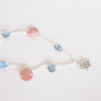Nautical Necklace with Captain's Wheel and Blue and Pink Mussel Shells