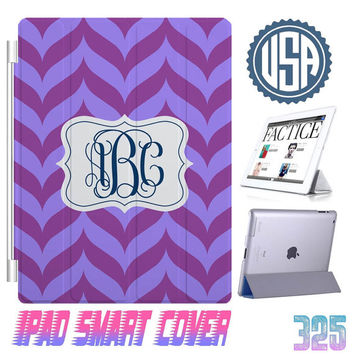 Custom chevron IPhone 5 Monogram @ IPad Air Smart Cover , IPad Mini Smart Cover IPad 4 Case , IPad 3 2 IPhone 5 4S Magnetic Sleep Wake #325