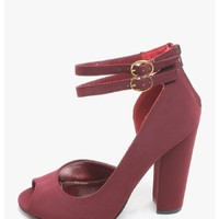 BURGUNDY Daisy Peep Toe Ankle Strap Heels | $10.00 | Cheap Trendy Heels and Pumps Chic Discount Fas
