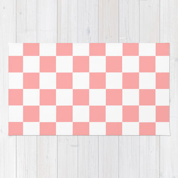 Coral Pink Checker Squares Area & Throw Rug by BeautifulHomes | Society6