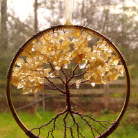 Citrine Gemstone Tree of Life Window or Wall Ornament