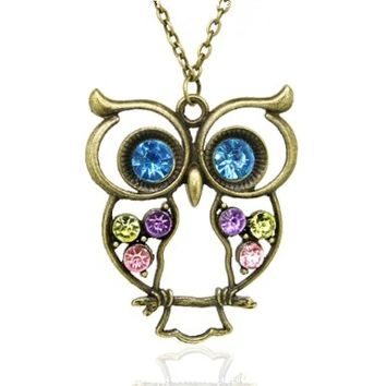 Vintage, Retro Colorful Crystal Owl Pendant and Long Chain Necklace with Antiqued Bronze/Brass Finish:Amazon:Jewelry