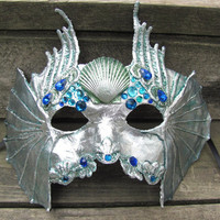 Silver Venetian Water spirit masquerade mask with blue ad green gems, Mer