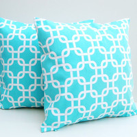 Turquoise Pillow Covers 16x16 Throw Pillows Gotcha Accent Decorative Set of 2 Cotton Home Decor 16 inch